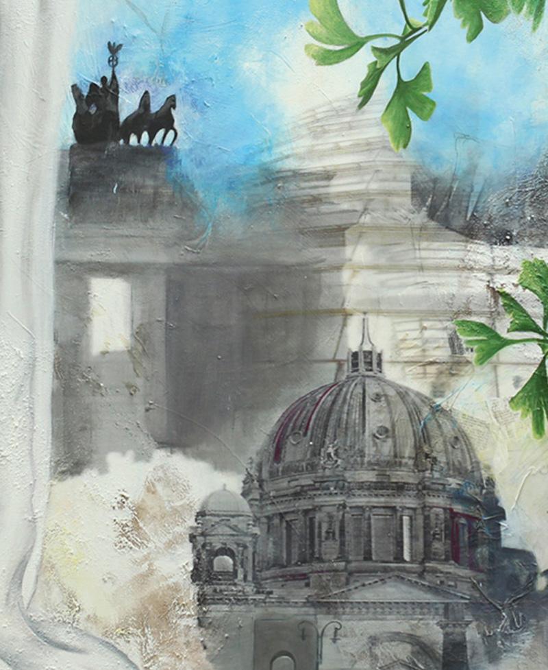 look behind - Berlin - Mischtechnik auf Leinwand - Format 120 x 120 cm, Gingkoblätter, Brandenburgertor von Sabine Mannheims, Kunst aus Nuernberg
