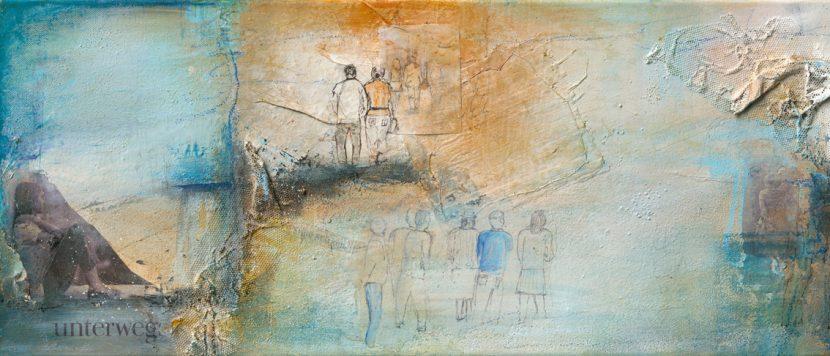 view I - Mischtechnik auf Leinwand - 100 x 30 cm